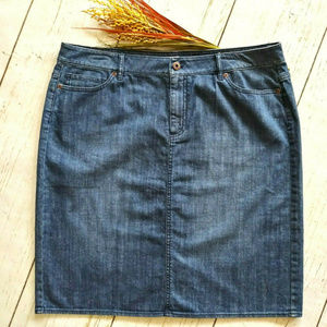J Jill Straight Pencil Jean Skirt 14 Knee Pockets